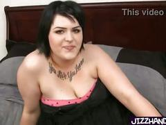 Big fat brunette gives handjob
