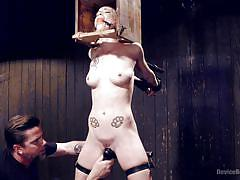 tattoo, whip, bdsm, domination, sex toys, blonde babe, ball gag, device bondage, metal clamps, device bondage, kink, jeze belle