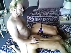 Lucky guy fucks a blonde and a redhead side by side on bed