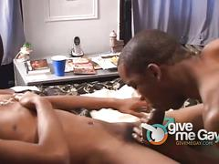 Horny black dudes sucking and rimming on the bed.