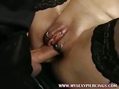 Pumped pierced milf fucked in her ringed pussy stockings