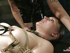 bondage, bdsm, redhead, lesbian domination, vibrator, brunette milf, ropes, clothespins, clamps on nipples, shibari, clamps on pussy, katharine cane, soma snakeoil (goddess soma), the training of o, kinky dollars