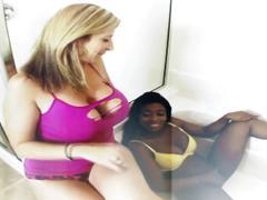 Interracial lesbian bath time with sara jay