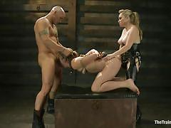 Hot milf gets double penetrated in rope bondage