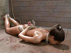 Skinny black girl gets punished in rope bondage