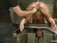 Pussy gaped with clothespins and rope