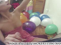 Sexy teen looner pops balloons then jerks him off