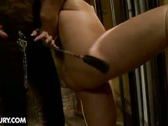 Mature chick torturing a hot babe with dildo