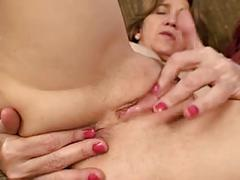 Old mommy masturbates with her heel and her fingers