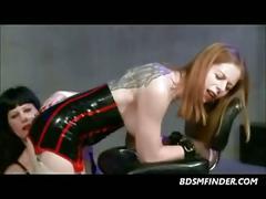 Latex lesbian stocking electro play