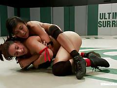 Lesbian wrestling ends up with some obedient dildo sucking