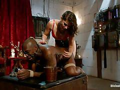 femdom, bondage, bdsm, interracial, mistress, punishment, tied up, brunette milf, ropes, clothespins, mouth gagged, bobbi starr, jack hammerx, divine bitches, kinky dollars