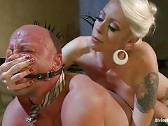 milf, tattoo, blonde, anal, femdom, bondage, strapon, mistress, slave, table, mouth gagged, lorelei lee, chad rock, divine bitches, kinky dollars