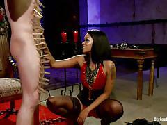 Ebony goddess whips slave boy's cock