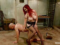 Busty redhead milf dominating a bald guy