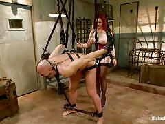 milf, femdom, bdsm, hanging, redhead, strap on, stockings, huge boobs, ropes, ball gag, electric wand, mz berlin, chad rock, divine bitches, kinky dollars