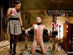 milf, femdom, bdsm, torture, mistress, slave, brunette, choke, collar, hot wax, tied guy, chanel preston, micah andrews, divine bitches, kinky dollars