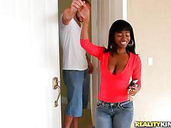 Ebony babe with bubble butt and natural tits rubbing a cock