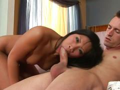 Asian chick christina aguchi give a sloppy blowjob
