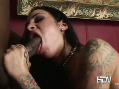 Hot brunette in interracial threesome fuck