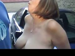 Horny mature couple fucking outdoor