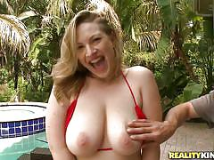 Big oiled natural boobs and a hard dick between them