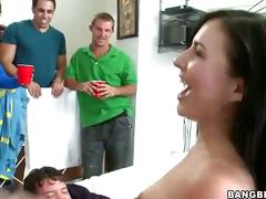Nasty brunette coed gets banged at a party