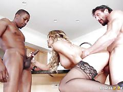 Wife between a white and a black cock