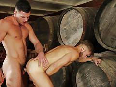 Bent over the barrels and ass fucked