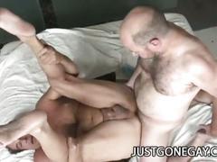 Two hairy dilf enjoying hardcore sex.