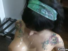 Busty tattooed slut anal sex
