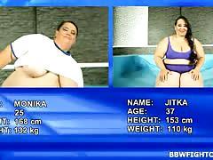 Naked fatties monika and jitka wrestling at bbw fight club