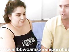 Large fattie gal fucks and sucks chubby plump tits bbw part 1