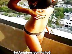 Busty babe fucked hard at balcony