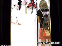 Pretty unde rware models gals in this voyeur video