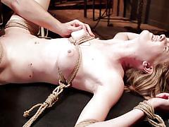 Tied blonde getting vibrator treatment
