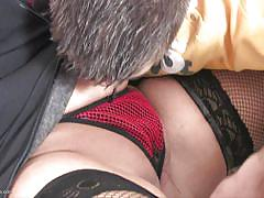 Boy explores a milf's cunt under a red panties