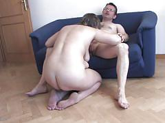 Fooling around in the house with a chubby mature