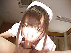 Naughty asian nurse at work