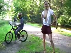 Imbecile young teen bella teasing open-air