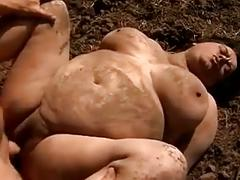 Bbw granny pig fucked in the mud