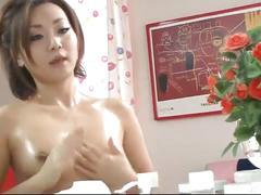Amateur japanese slut yuu shiraishi oiling pussy