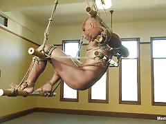 handjob, hanging, gay bdsm, tied up, anal insertion, gay bondage, gay domination, bald guy, ropes, john magnum, men on edge, kinky dollars