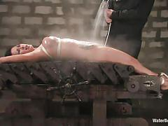 tattoo, big tits, brunette, tied up, wet body, water bdsm, cold water, stick with dildo, shibari, bondage table, gianna lynn, sgt. major, water bondage, kinky dollars