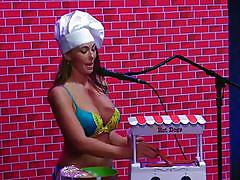 milf, big tits, interview, playboy, topless, brunette, comedy, radio, morning show, cooking, morning show, playboy webmasters