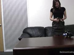 Cleaning lady talked into anal on casting couch