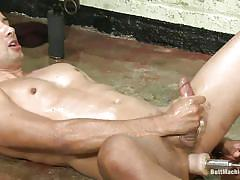 solo, cumshot, oiled, gays, anal insertion, jerking off, cum, sucking dildo, self ejaculation, on floor, butt machine, gabriel dalessandro, butt machine boys, kinky dollars