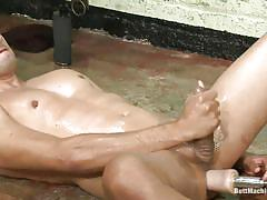 Oiled gay sucking dildo while getting one in the ass