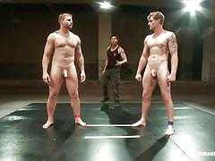 Muscled gay guys fighting to fuck