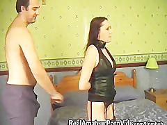 Tied up and spanked before rimming him then takes a facial